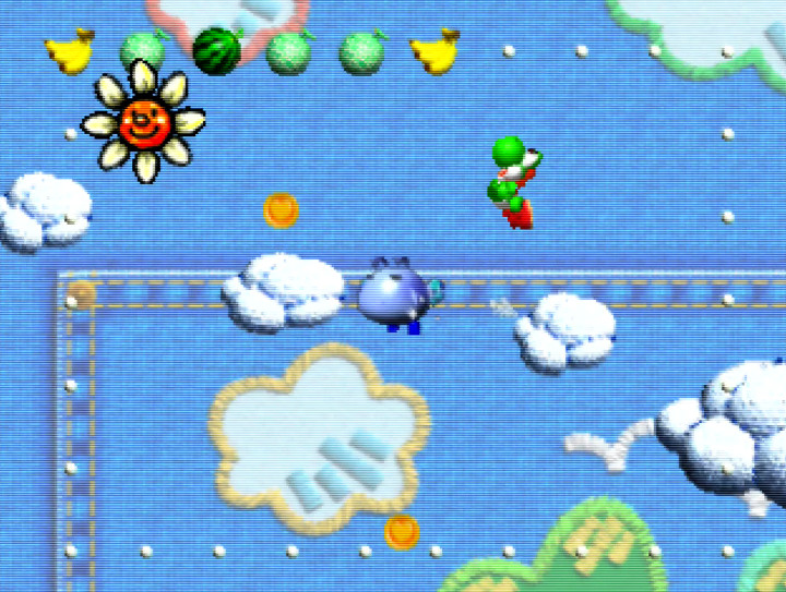 Cloud Cruising Stage in Yoshi's Story for N64