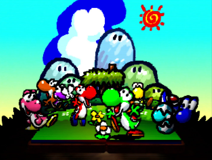 Pop-up book featuring colourful Yoshis in the intro to Yoshi's Story for N64