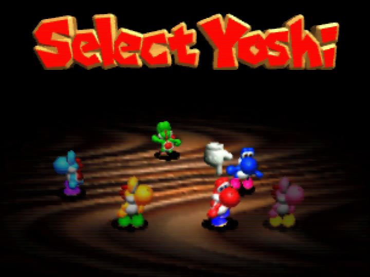 Select Yoshi screen in Yoshi's Story on Nintendo 64