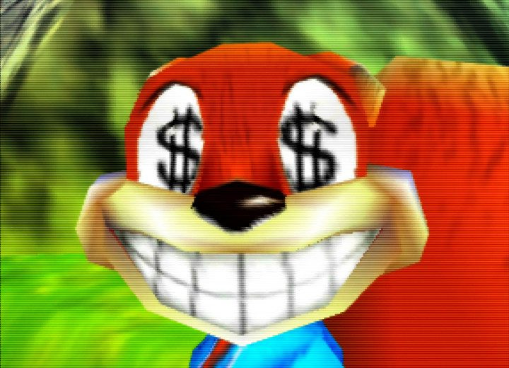 Conker from Conker's Bad Fur Day for N64 with dollar signs in his eyes.