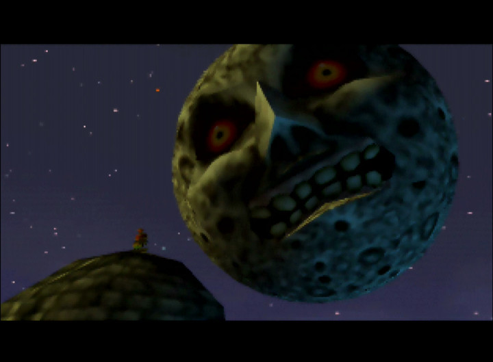 The Moon falls closer to Termina's Clock Town in The Legend of Zelda: Majora's Mask intro for N64.