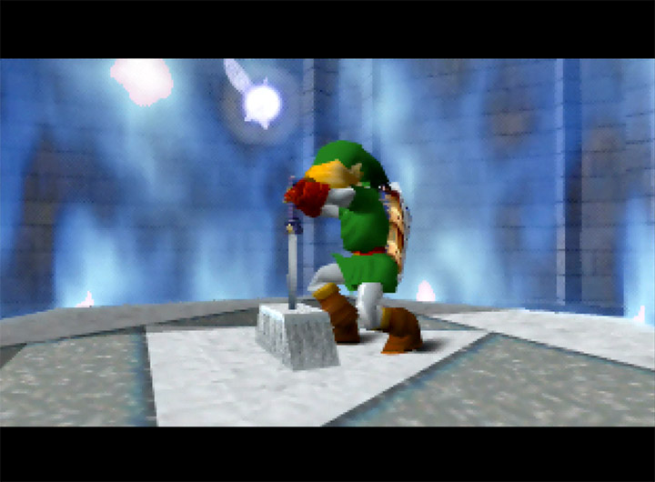 Link returns the Master Sword to the pedestal in the Temple of Time in The Legend of Zelda: Ocarina of Time for N64.