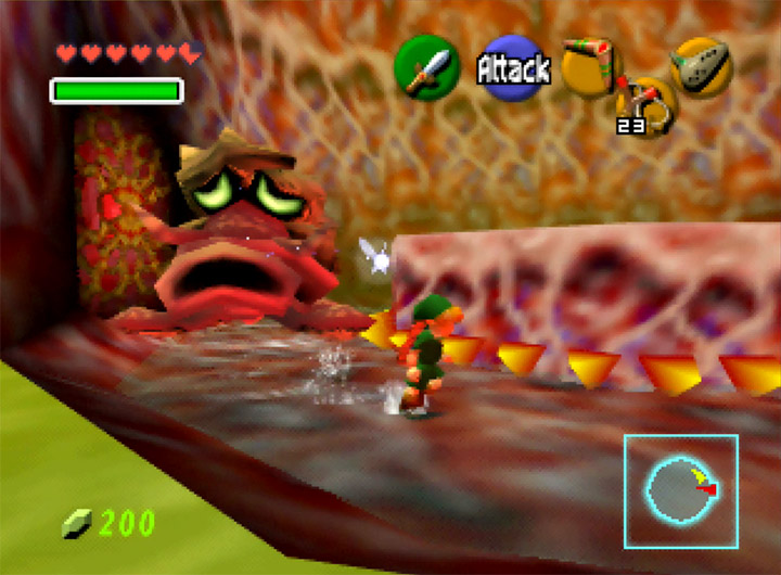 Running from the Bigocto mini-boss in The Legend of Zelda: Ocarina of Time for Nintendo 64.