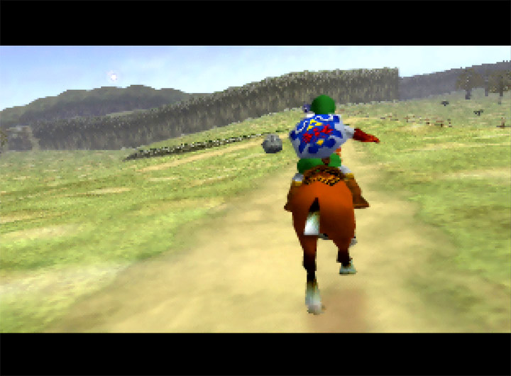 Riding Epona across Hyrule Field in The Legend of Zelda: Ocarina of Time for N64.