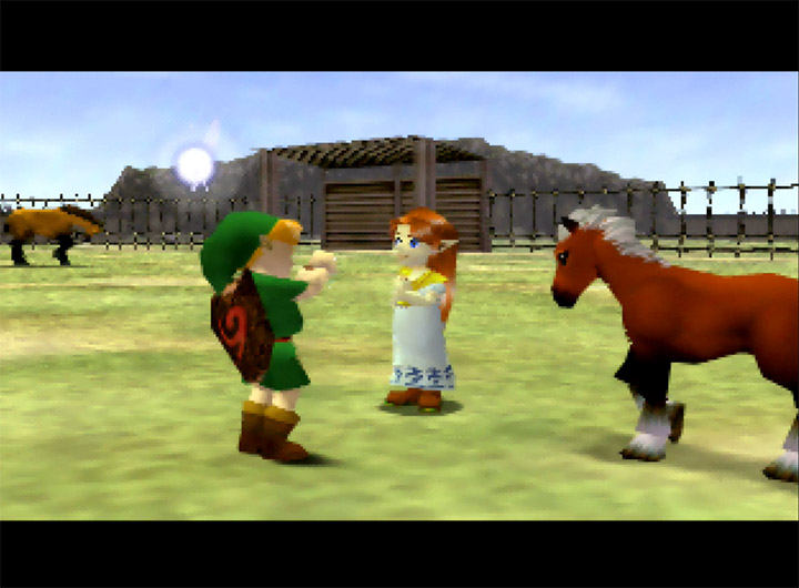 Link bonds with Epona at Lon Lon Ranch inThe Legend of Zelda: Ocarina of Time for N64.