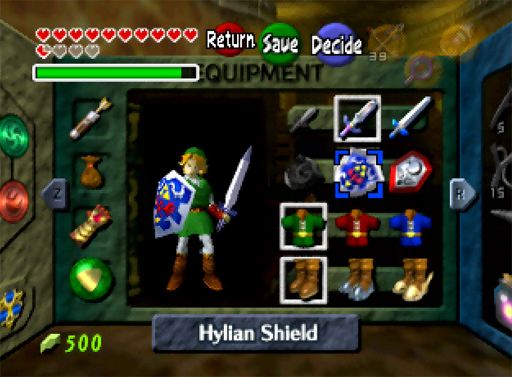 The Legend of Zelda: Ocarina of Time's equipment screen (N64 version)