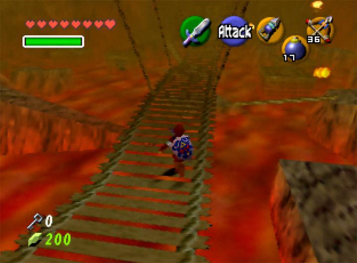 Traversing a treacherous rope bridge in The Legend of Zelda: Ocarina of Time's Fire Temple
