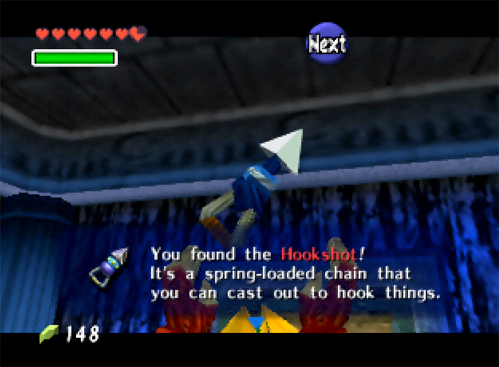 Getting the Hookshot in The Legend of Zelda: Ocarina of Time for N64.
