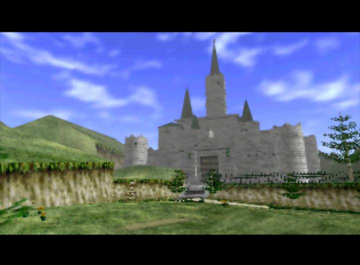 Hyrule Castle, as seen in The Legend of Zelda: Ocarina of Time (Nintendo 64)