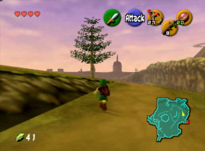 Link journeys across Hyrule Field as the sun sets in The Legend of Zelda: Ocarina of Time for N64.