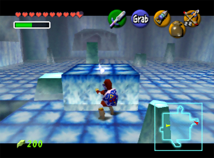 Pushing sliding platforms around the Ice Cavern to solve a puzzle in The Legend of Zelda: Ocarina of Time for N64.