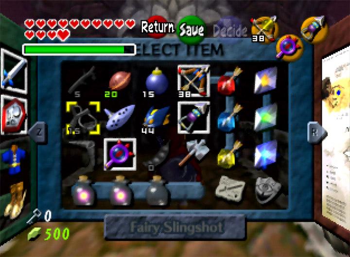 The Legend of Zelda: Ocarina of Time's item select screen
