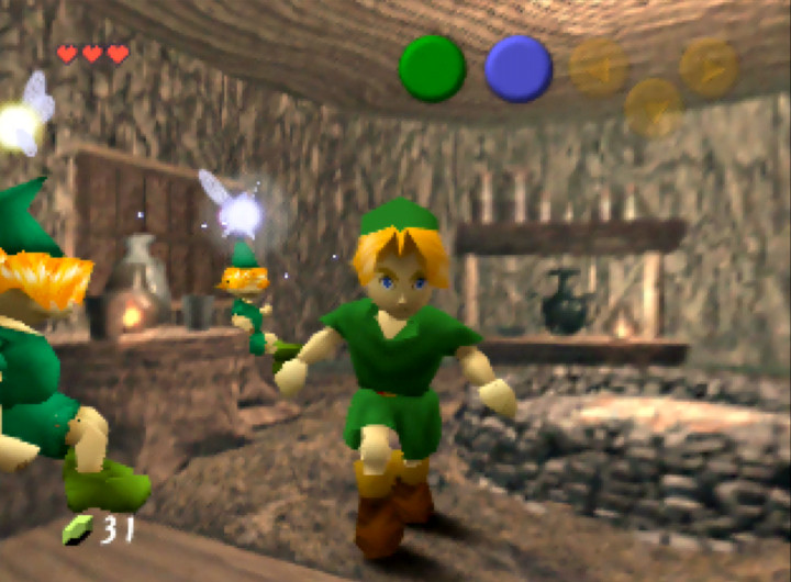 The pre-rendered interior of the Know-It-All Brothers' house in Legend of Zelda: Ocarina of Time for N64.