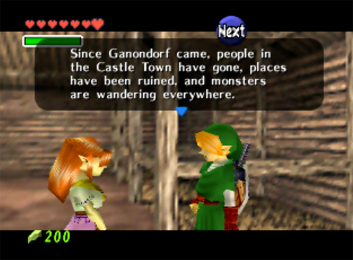 Malon tells Link how the world has changed for the worst since Ganondorf took over in The Legend of Zelda: Ocarina of Time for N64.
