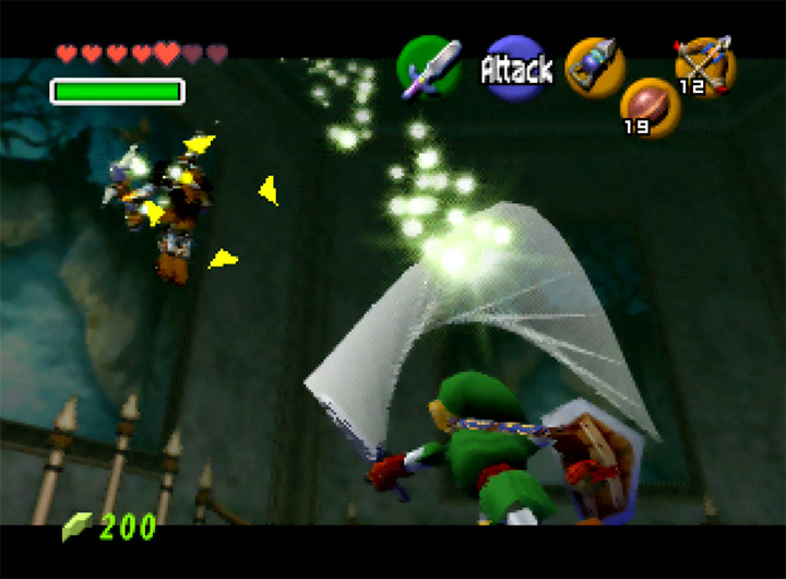 Playing energy ball tennis with Phantom Ganon in The Legend of Zelda: Ocarina of Time for N64.