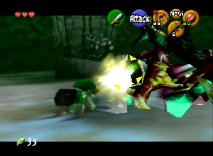 Link strikes Queen Gohma in the eye in The Legend of Zelda: Ocarina of Time