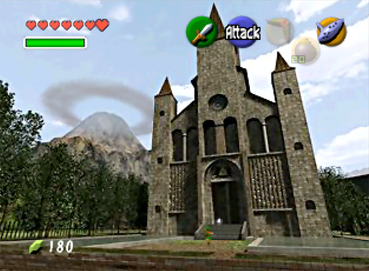 The Temple of Time in the present day in The Legend of Zelda: Ocarina of Time for N64.