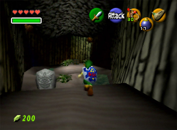 A secret underground area in The Legend of Zelda: Ocarina of Time for N64.