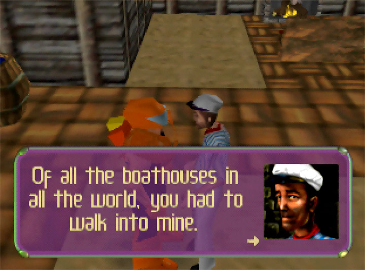 """Of all the boathouses in all the world, you had to walk into mine."" - Casablanca film reference in Body Harvest for Nintendo 64"