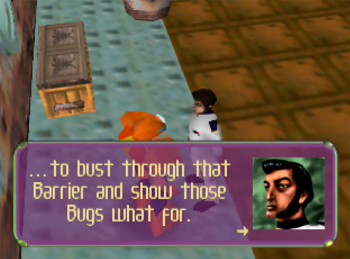 Captain Ahab outlines his insane plan in Body Harvest for Nintendo 64.
