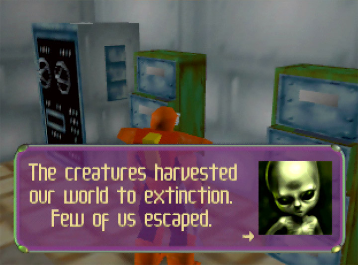 A grey alien warns Adam Drake about the harvesting bugs in Body Harvest for Nintendo 64.
