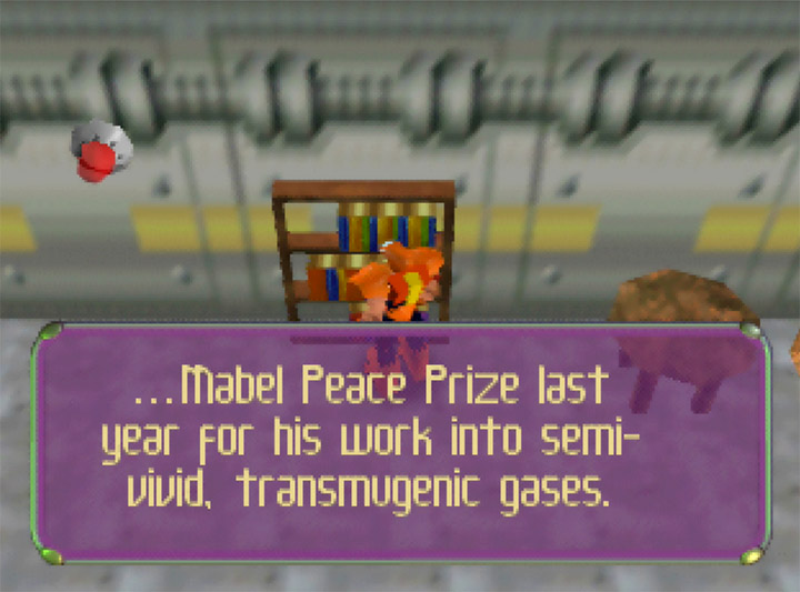 Mabel Peace Prize - a parody reference to the Nobel Peace Prize in Body Harvest for N64.