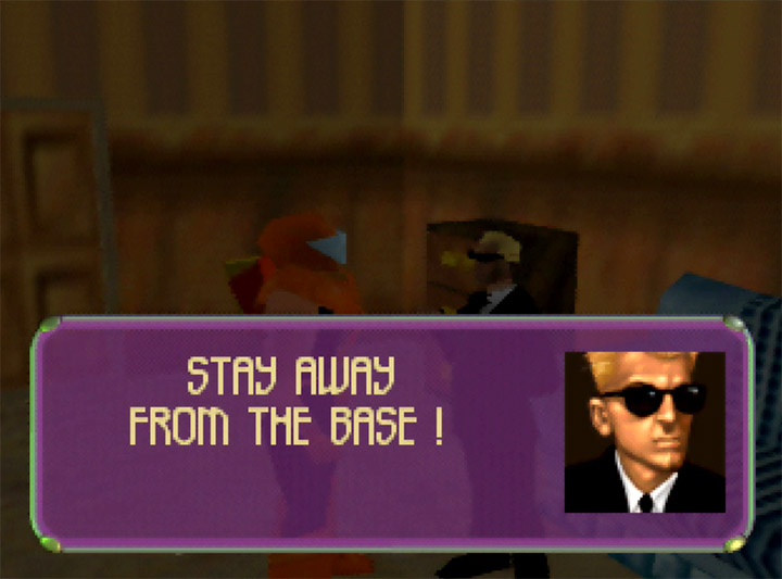 Man in Black orders you to stay away from the base in Body Harvest for N64.