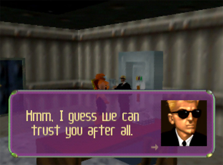 The man in black finally trusts Adam Drake in Body Harvest for Nintendo 64.