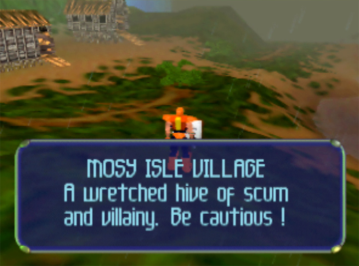 Mosy Isle village - a reference to Star Wars' Mos Eisley in Body Harvest for N64.