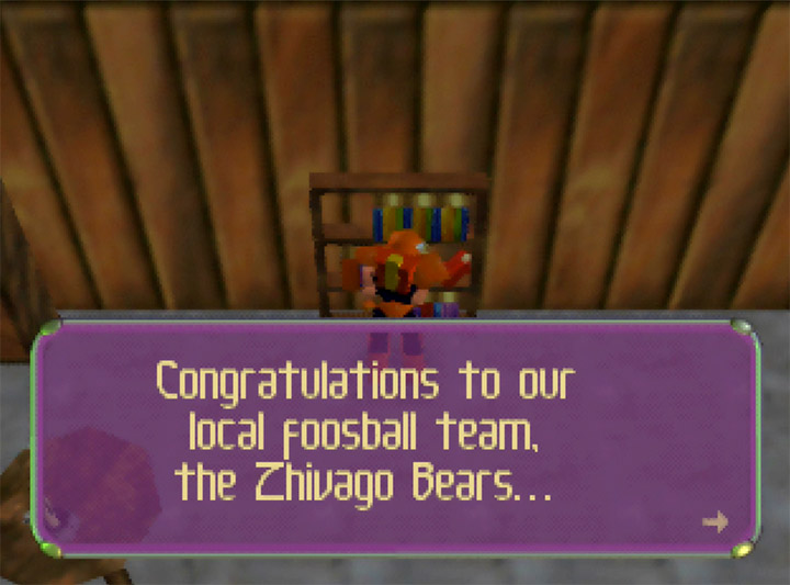"A journal in Body Harvest's Siberia stage makes reference to a ""Zhivago Bears"" foosball team - a parody of the Chicago Bears NFL team."