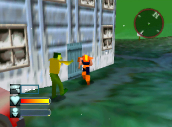 A zombie chases Adam Drake in Body Harvest for N64.