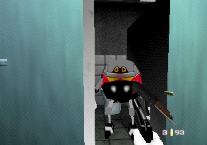 Shooting an Eggrobo in the facility toilets in GoldenEye with Sonic characters mod for Nintendo 64