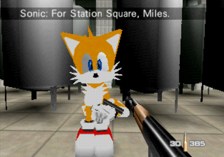 "Miles ""Tails"" Prower as Agent 006 in the hilarious GoldenEye with Sonic characters mod for N64."