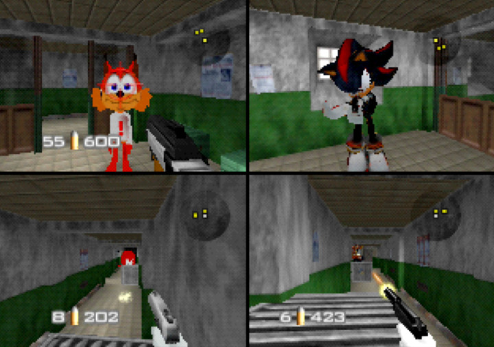 GoldenEye with Sonic characters multiplayer match on archives, featuring Shadow the Hedgehog and Bubsy the bobcat.