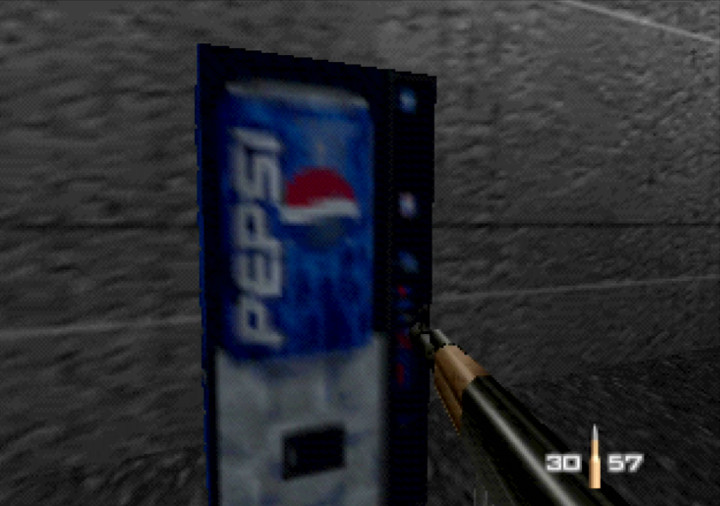 Pepsi vending machine in GoldenEye with Sonic characters mod for N64.