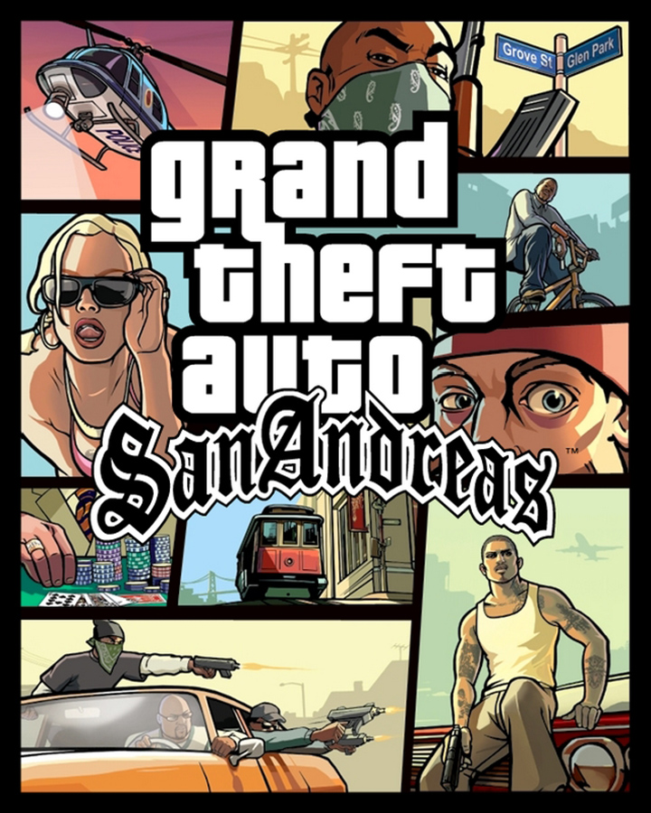 The box art for PS2 game Grand Theft Auto: San Andreas