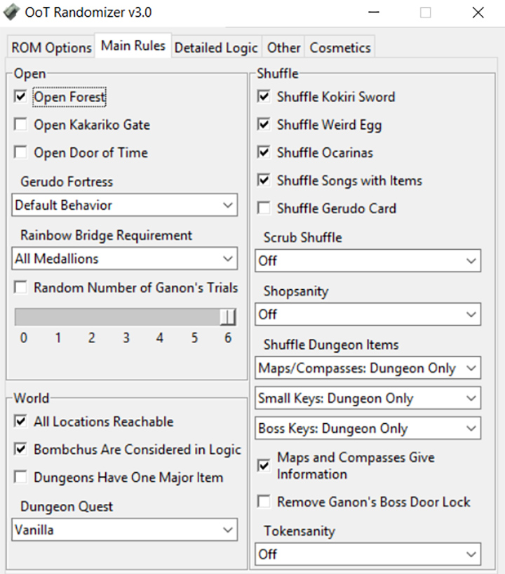 Main Rules tab of the OoT Randomizer v3.0 PC application.