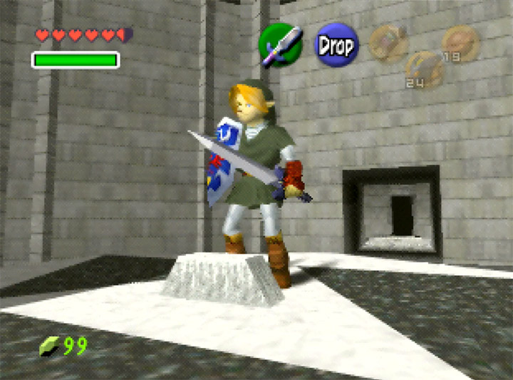 Adult Link garbed in a darker tunic than usual in Ocarina of Time Randomizer.