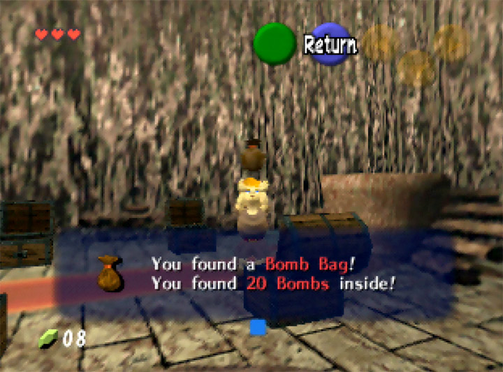 Link finds the bomb bag in Mido's house in Ocarina of Time Randomizer for N64.