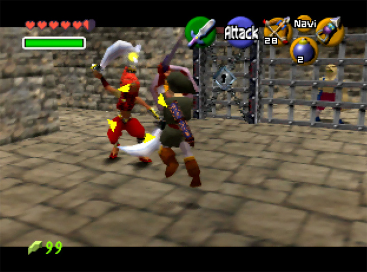 Link fights a Gerudo in Ocarina of Time Randomizer for N64.