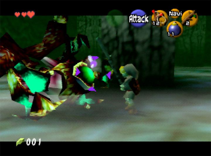 Link fights Queen Gohma without a sword in Ocarina of Time Randomizer