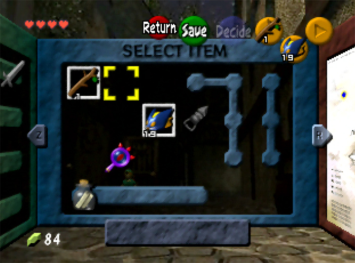 A rather eclectic mix in the inventory menu of Ocarina of Time Randomizer for N64.