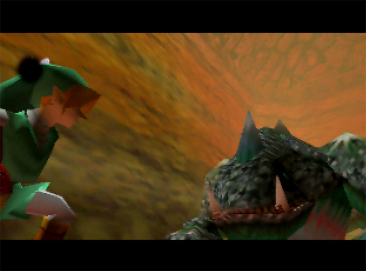 Fighting King Dodongo as Adult Link in Ocarina of Time Randomizer for Nintendo 64