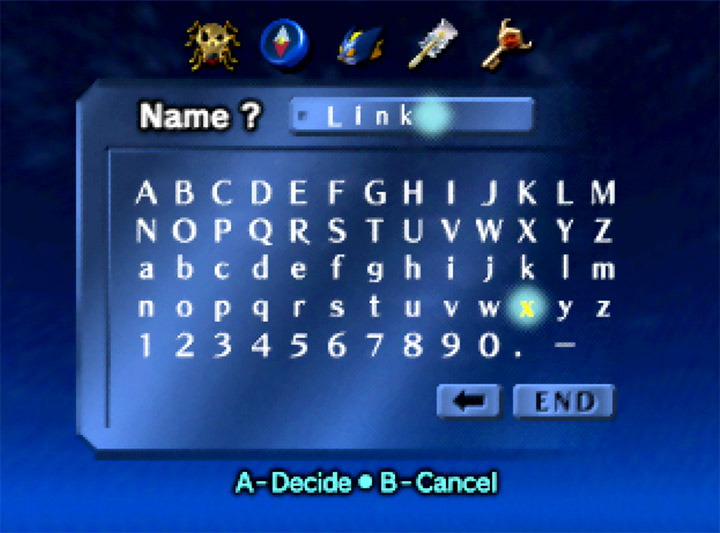 Ocarina of Time Randomizer name entry screen