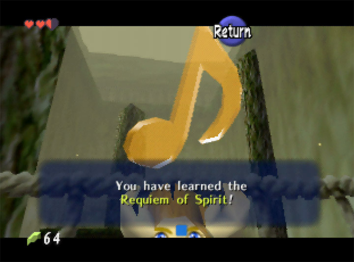Learning the Requiem of Spirit simply by finding it in Ocarina of Time Randomizer.
