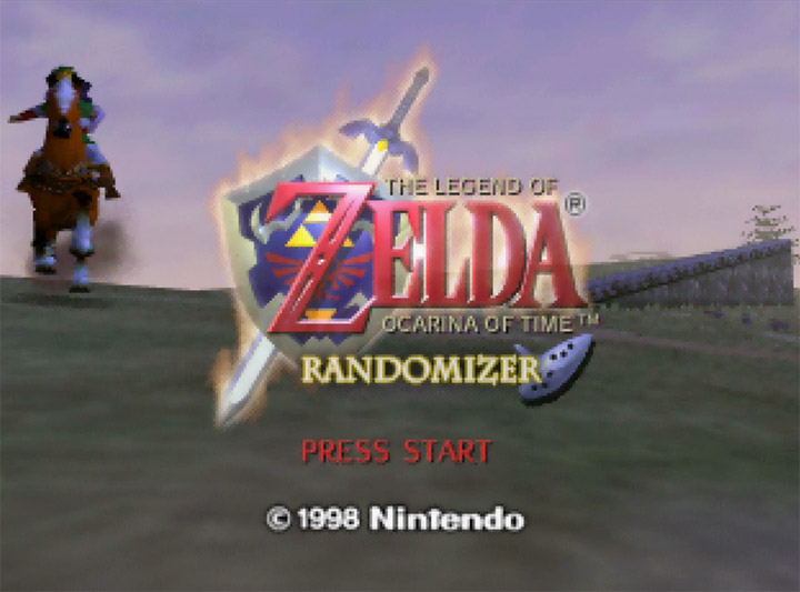 Ocarina of Time Randomizer title screen, on an original N64 console.