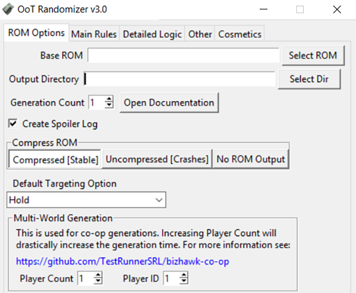 OoT Randomizer v.3.0 - ROM Options tab