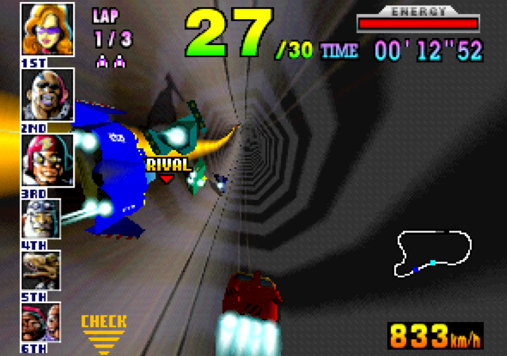 Racing through a narrow 360-degree pipe in F-Zero X for N64.