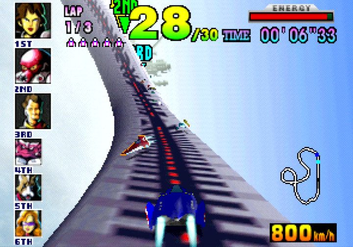 Racing along a massive cylindrical pipe suspended high in the air in F-Zero X track Big Blue