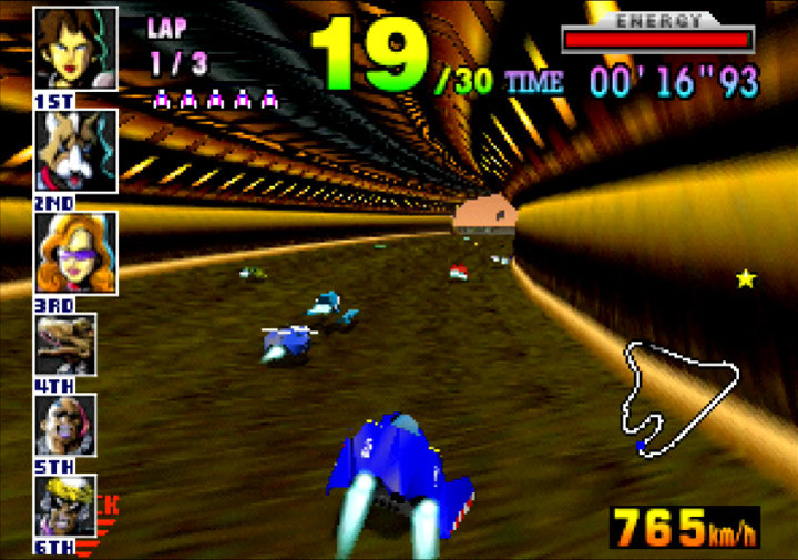 The Blue Falcon, Captain Falcon's F-Zero machine, as seen in N64 game F-Zero X (1998)